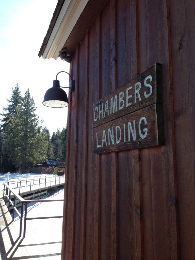 Chambers Landing sign in Lake Tahoe