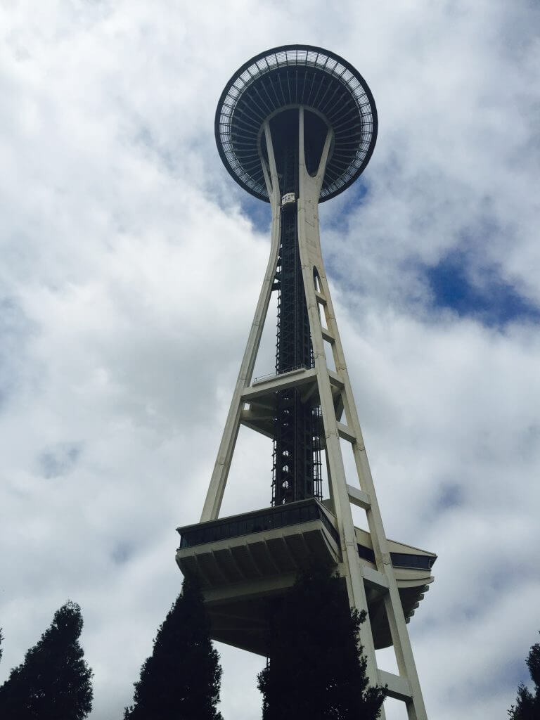 View of the Seattle Space Needle from the base of it