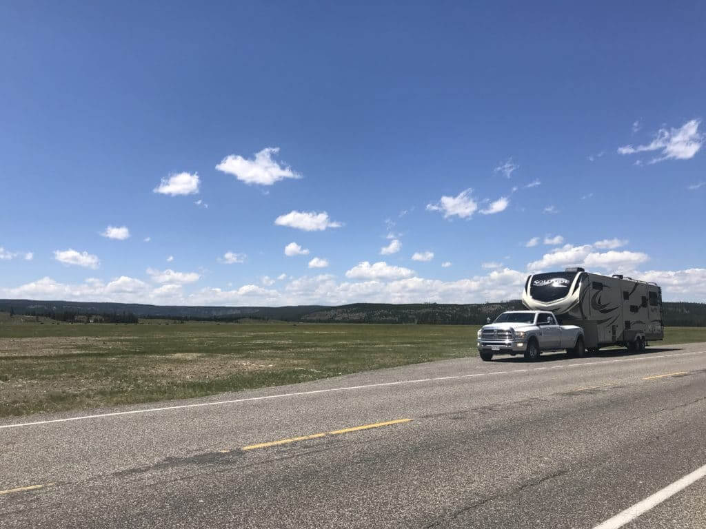 Fifth wheel RV attached to a RAM truck in Yellowstone National Park
