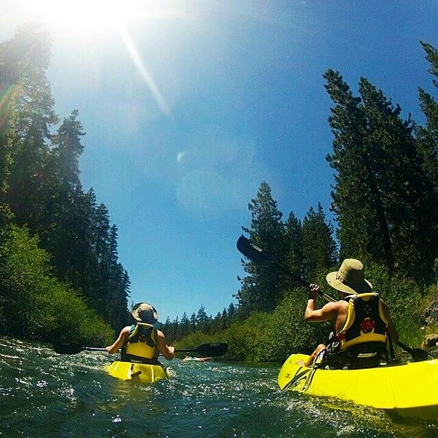 Rafts going down the Truckee River in North Lake Tahoe