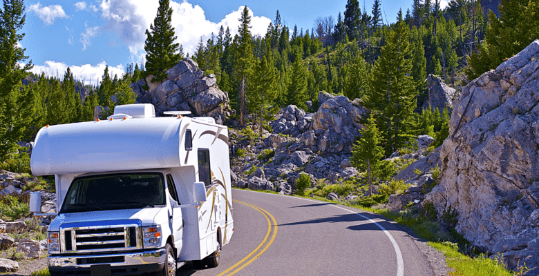 Rental RV driving through the mountains