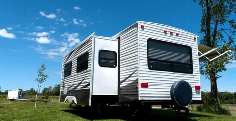 Travel trailer with RV slide out extended